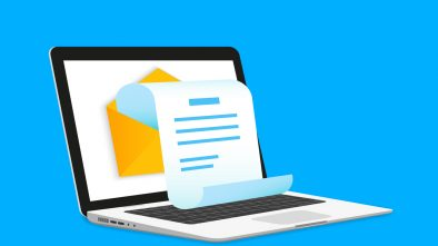 A graphic illustration of a laptop with an open envelope on the screen, representing email marketing.