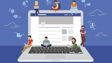 A graphic illustration of several people on sitting on a gain laptop, representing Facebook marketing.
