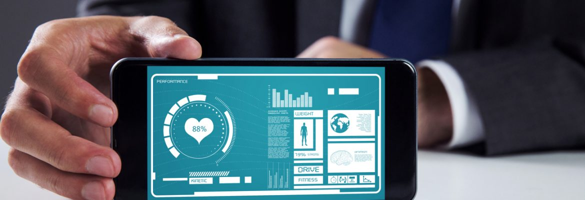 A businessman is using a healthcare app.