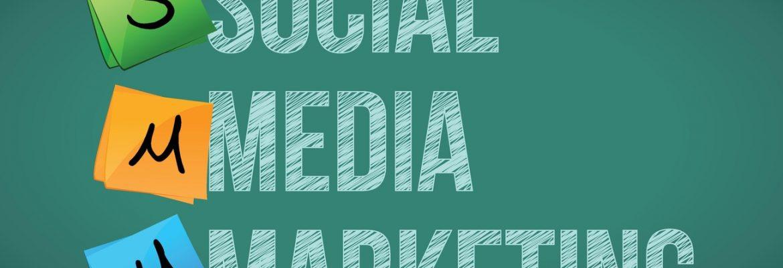 Social media marketing and posts on a blackboard.