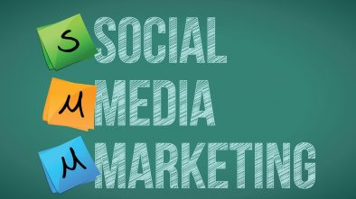 Social media marketing and posts on a blackboard.
