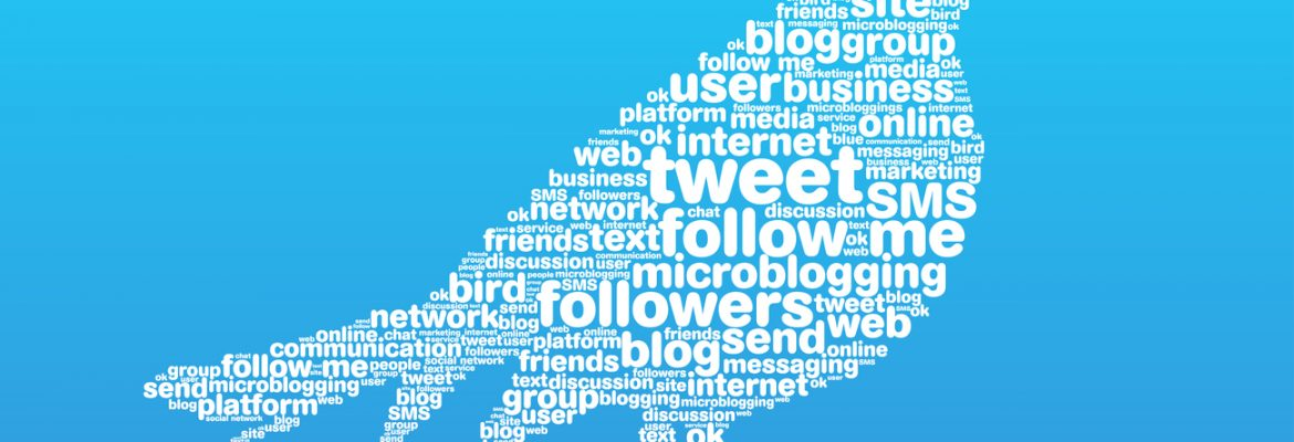 A bird with a word cloud inside, representing Twitter.