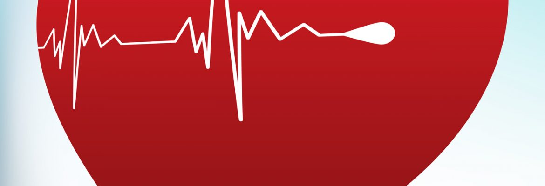 An EKG line inside a heart, representing website analytics.