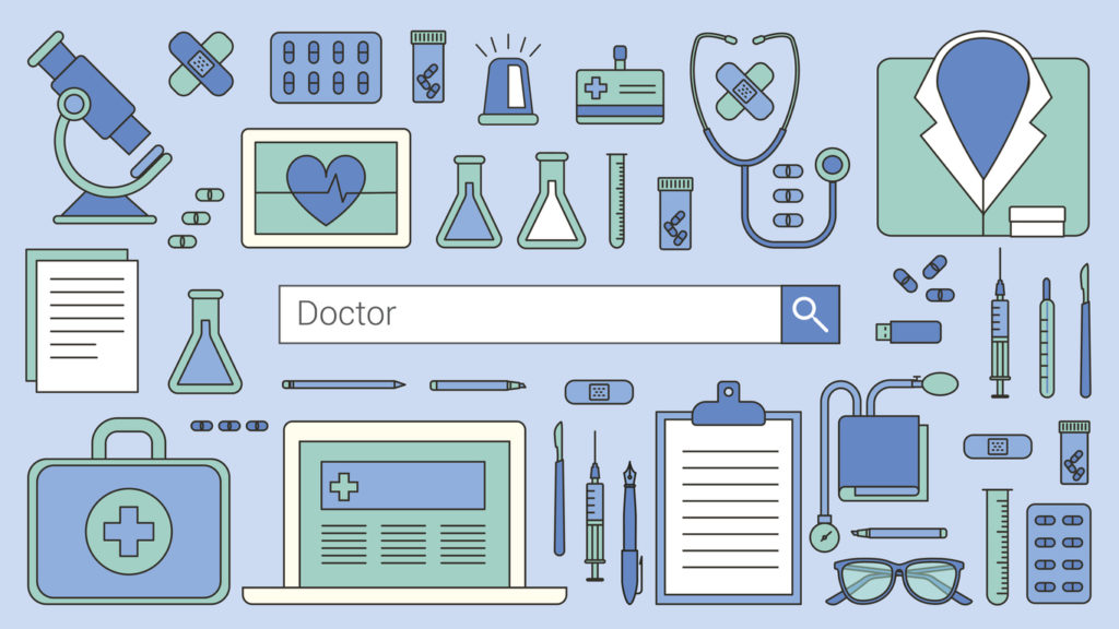 """A vector graphic of a search engine bar, with the word """"doctor"""" in the search field, representing how healthcare SEO can help potential patients can find your website on the internet."""