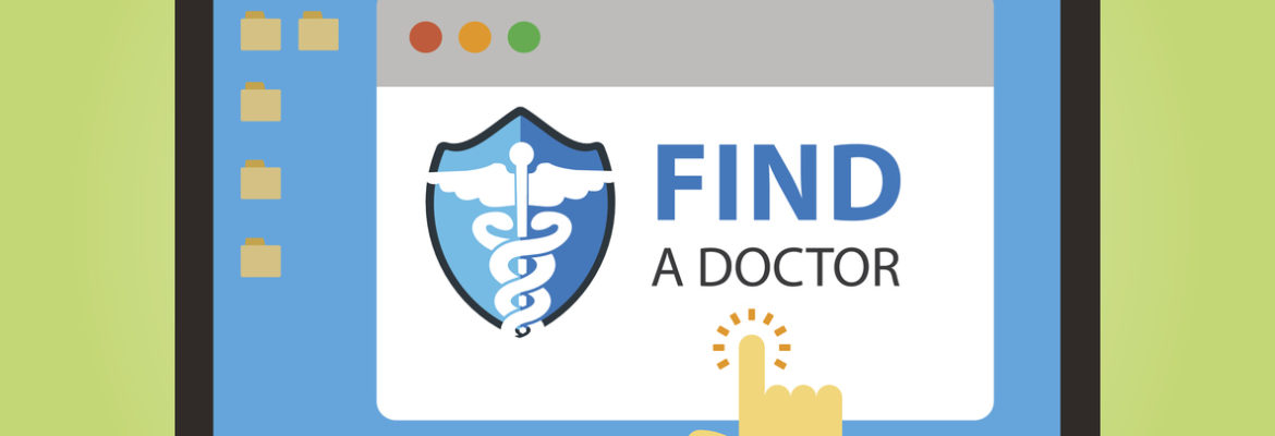"""A vector graphic reading """"find a doctor,"""" representing how healthcare SEO can help your practice be found by potential patients looking for a new doctor on the web."""