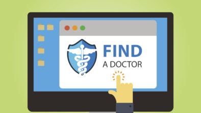 "A vector graphic reading ""find a doctor,"" representing how healthcare SEO can help your practice be found by potential patients looking for a new doctor on the web."
